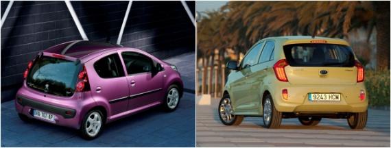 Фотографии Peugeot 107 и KIA Picanto